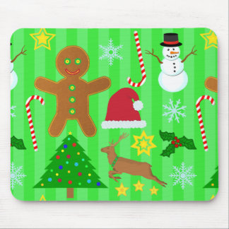 Cute Christmas Collage Holiday Pattern Mouse Pad