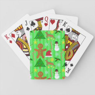 Cute Christmas Collage Holiday Pattern Playing Cards