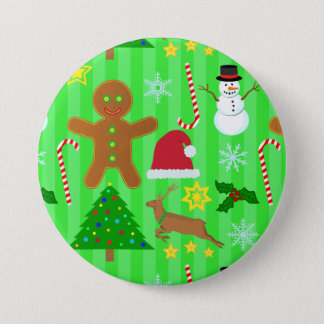 Cute Christmas Collage Holiday Pattern Pinback Button