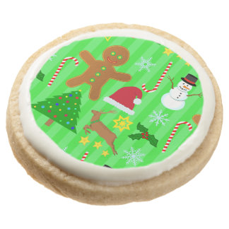 Cute Christmas Collage Holiday Pattern Round Shortbread Cookie