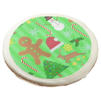 Cute Christmas Collage Holiday Pattern Sugar Cookie