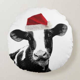 Cute Christmas Costume Cows Round Pillow