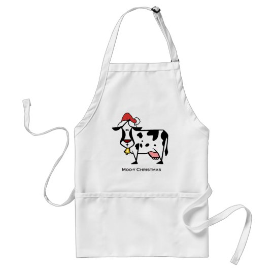 Cute Christmas Cow Adult Apron