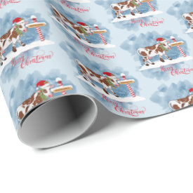 Cute Christmas Cow at North Pole Wrapping Paper