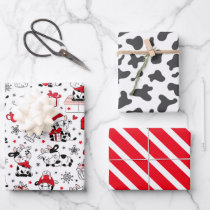 Cute Christmas Cow Bull Wrapping Paper Set of 3