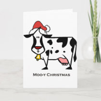 Cute Christmas Cow Holiday Card