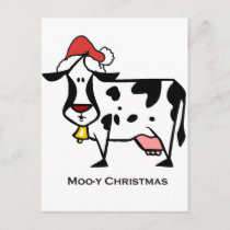 Cute Christmas Cow Holiday Postcard