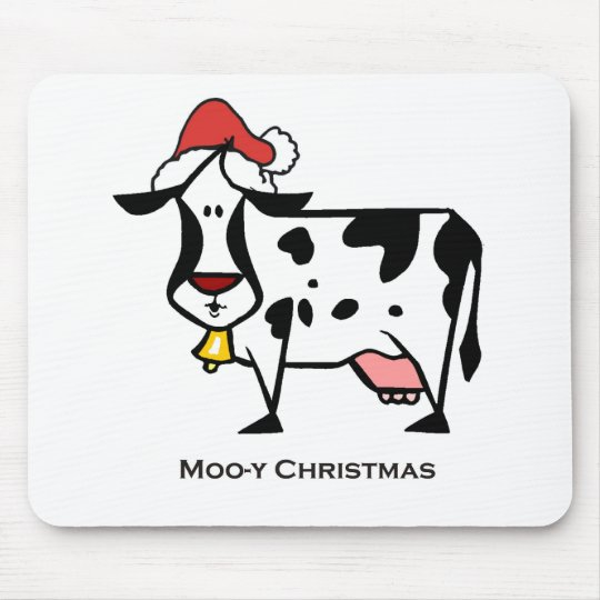 Cute Christmas Cow Mouse Pad