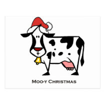 Cute Christmas Cow Postcard