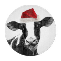Cute Christmas Cow with Santa Hat Cutting Board