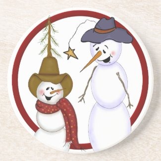 Cute Christmas Cowboy Snowman Drink Coaster