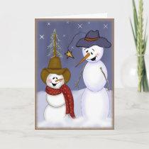 Cute Christmas Cowboy Snowman Holiday Card
