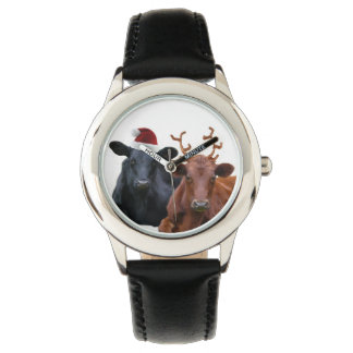 Cute Christmas Cows in Holiday Costumes Wrist Watch
