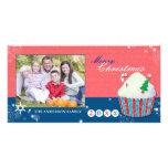 Cute Christmas Cupcake Holiday Greetings Photocard Photo Card