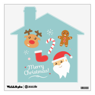 Cute Christmas Decorations with Santa and Reindeer Wall Sticker