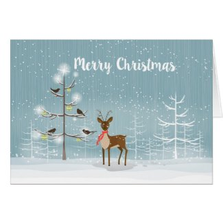 Cute Christmas Deer In The Snowy Woods