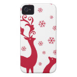 Cute Christmas deers with snowflakes Case-Mate iPhone 4 Case