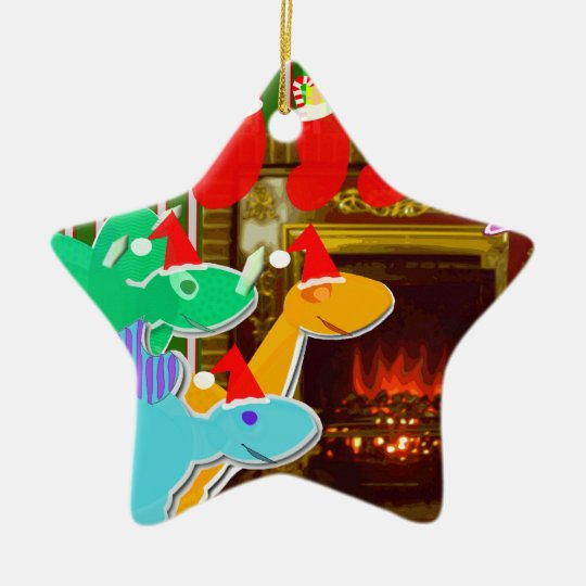 Cute Christmas Dinosaurs Seasonal Ornament