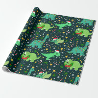 Cute Christmas Dinosaurs Wrapping Paper