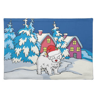 Cute Christmas dog with Santa Hat Place Mat
