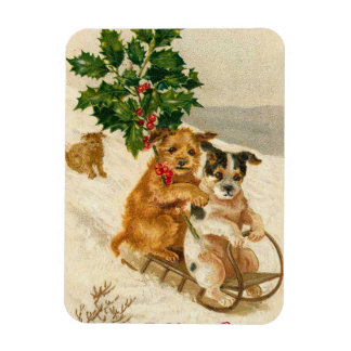 Cute Christmas Dogs Rectangular Photo Magnet