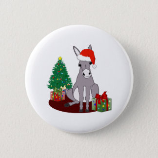 Cute Christmas Donkey Button