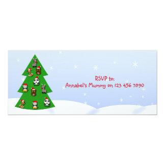 Cute Christmas Donkey Cartoon Child's Party Card
