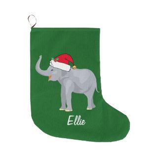 Cute Christmas Elephant Large Christmas Stocking