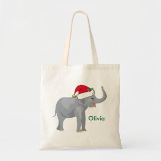 Cute Christmas Elephant Santa Personalized Tote Bag