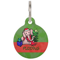 Cute Christmas Elephant with Name for Diabetic Pet Pet ID Tag