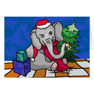 Cute Christmas Elephant With Red Scarf and Bell Card