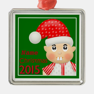 """Cute Christmas Elf 2015"" Premium Ornament"