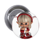 Cute Christmas Elf 2 Inch Round Button