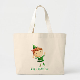 Cute Christmas Elf Jumbo Tote Bag