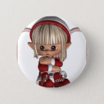 Cute Christmas Elf Button