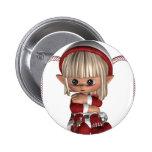 Cute Christmas Elf Button