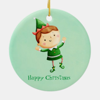 Cute Christmas Elf Ceramic Ornament