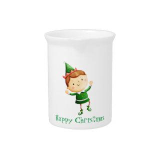 Cute Christmas Elf Drink Pitcher