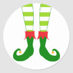 Cute Christmas Elf Feet Classic Round Sticker
