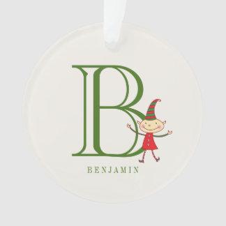 Cute Christmas Elf Monogram Holiday Photo Ornament