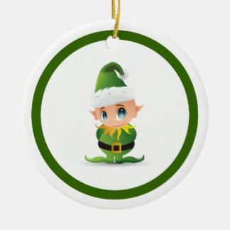 Cute Christmas Elf Personalized Ceramic Ornament