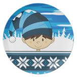 Cute Christmas Elf Plate
