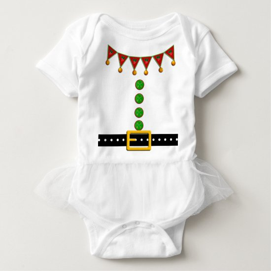 Cute Christmas Elf Suit Costume - Front and Back Baby Bodysuit