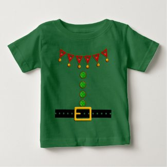 Cute Christmas Elf Suit Costume - Front and Back Baby T-Shirt