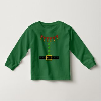 Cute Christmas Elf Suit Costume - Front and Back Toddler T-shirt
