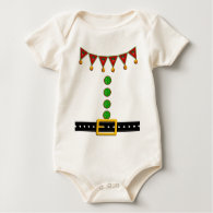 Cute Christmas Elf Suit Costume - Front and Back Baby Bodysuits