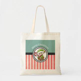 Cute Christmas Elf with Candy Cane Merry Christmas Tote Bag