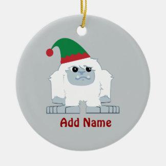 Cute Christmas Elf Yeti Ceramic Ornament