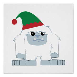 Cute Christmas Elf Yeti Poster