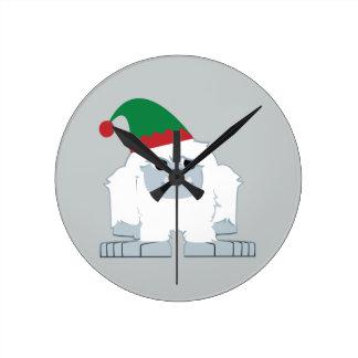 Cute Christmas Elf Yeti Round Clock